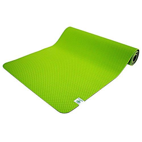 TechFit Yoga Tappetino 6mm Spesso Antiscivolo, Perfeto per Esercizi, Fitness, Pilates, Gym e Camping, Durevole (Verde)