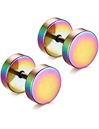 Aituo Unisex Cool 2Pcs Punk Gothic Stainless Steel Round Screw Mens Barbell Ear Studs Earrings Combination (5mm+8mm+10mm, Color)