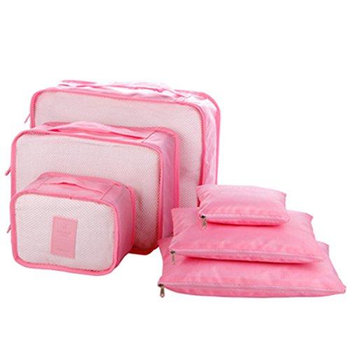 KCNCKSL Hot 6 Teile/Satz Reisetaschen Kleidung Ordentlich Aufbewahrungstasche Box Gepäck Koffer Beutel Zip-BH Kosmetik Unterwäsche Veranstalter Pink (Quadrat Bett In Einem Beutel)
