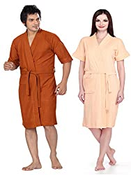 Sand dune Men-Women Bathrobe Large Rust-Peach