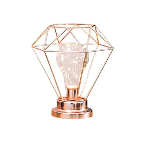 For Diamond Lamp Iron Bedroom Gold Roomrose Table Style Decorative Lamp Bedside Night Shape Light Living Metal nordic Wire sQrdth