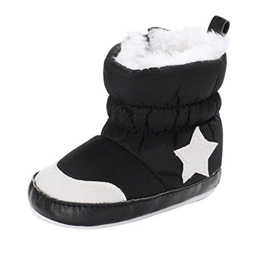 JERFER Neugeborenen Baby Mädchen Jungen Fünfzackiger Stern Weiche Booties Schneeschuhe Kleinkind Wärmende Schuhe Schneestiefel 0-18 M (6~12 M, Schwarz)