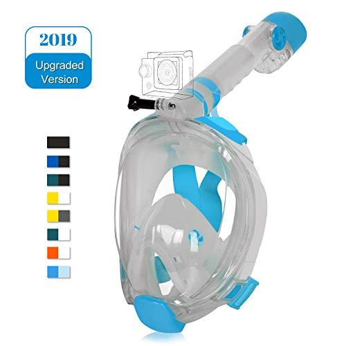 Unigear Masque de Plongée, Masque Snorkeling Plein Visage 180° Visible, Antibuée Anti-Fuite sous-Marine, 2019 Nouveau Version Snorkel Masque avec la Support pour Caméra de Sport (Blanc-Azuré, S/M)