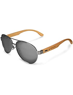 Navaris Wayfarer Sonnenbrille UV400 - Damen Herren Holz - Retro Brille mit Bambus Bügeln - Unisex Holzbrille mit...