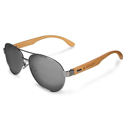 Navaris Fliegerbrille Piloten Sonnenbrille polarisiert - UV400 Holz Pilotenbrille - Unisex Brille mit Bambus Bügeln - Holzbrille div. Farben