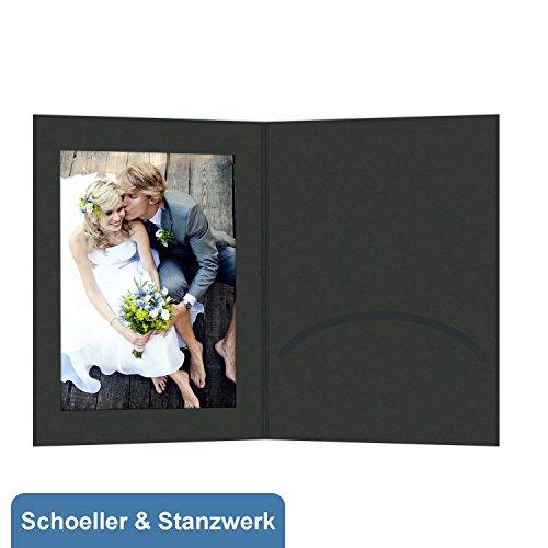 50 Stück Portraitmappen mit Passepartout und Einsteckschlitz für 13x18 cm Fotos - schwarz - Kwick - Schoeller & Stanzwerk