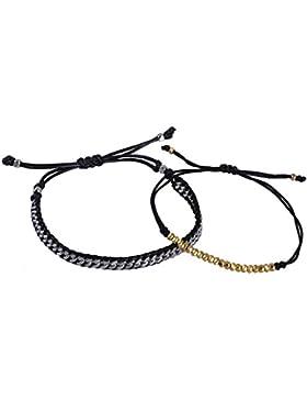 KELITCH 2 Stück Dünn Seil Strick Metall Kette Armband Freundschaftsarmbänder Metal Partikel Dünn Schnur Armreif