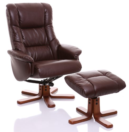 The Shanghai Bonded Leather Recliner Swivel Chair