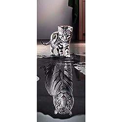 HEDDK 3D Stickers De Porte Autocollants Muraux PVC Étanche Autocollant Chat Tigre Salon Chambre Maison Décorations Murales Papier Peint Sticker