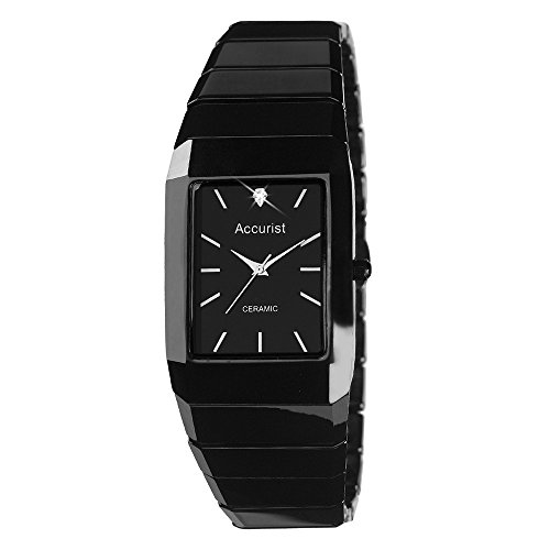 Accurist Gents Black Ceramic Bracelet Linked Watch