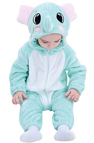 Katara 1778 Elefant Baby-Kostüm Karneval, kuscheliger Jumpsuit verschiedene Tiere & Größen, Pyjama-Qualität, (Kuschelige Elefanten Baby Kostüm)