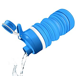 AISOUL Collapsible Silicone Water Bottle 18.8 oz - Food-Grade Silicone Leak Proof Water Canteen for Home, Outdoor and Sports (550ml, Blue)