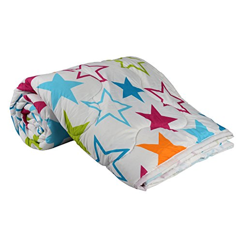 Clasiko Double Bed Comforter; White Base With Multi Stars; Micro Cotton; Size...