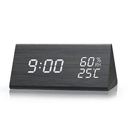 Reloj Digital,Reloj Despertador con 3 Alarmas Programables,Pantalla LED de Fecha, Brillo de 3 Niveles, Temperatura y Humedad Reloj de Grano de Madera para Habitaciones