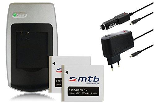 Cargador + 2 Baterías NB-4L para Canon IXUS 30