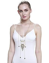 La Vogue Collier Sautoir Long Plastron Cercle Pendentif Femme Ethnique Multirangs Chaîne Fine