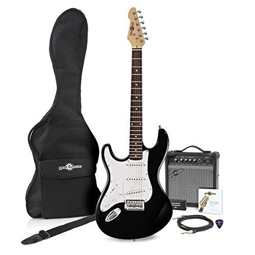 Guitarra Eléctrica LA Zurda + Pack de Ampli de 15W - Negro