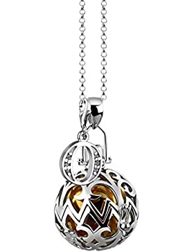 [Gesponsert]Nenalina Silber Halskette mit Engelsflüsterer Anhänger inkl. Klangkugel und Buchstaben Charm Anhänger | Damen...