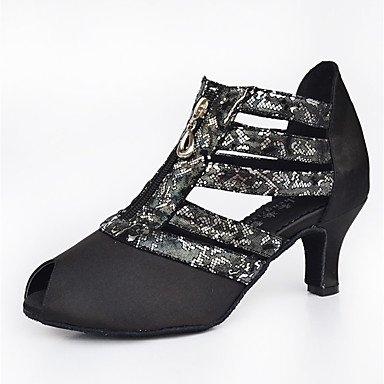 Ruhe @ Damen Latin/Salsa Dance Schuhe Satin/Kunstleder Sandalen/Heels heelindoor schwarz Schwarz