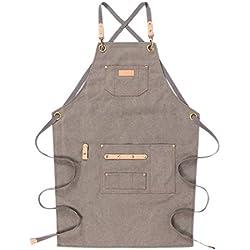 Delantal de trabajo de lona resistente con bolsillos, refuerzo de piel en la espalda cruzada, para chef, barbacoa, carnicero, carpintero, delantal de parrilla para hombre (gris)