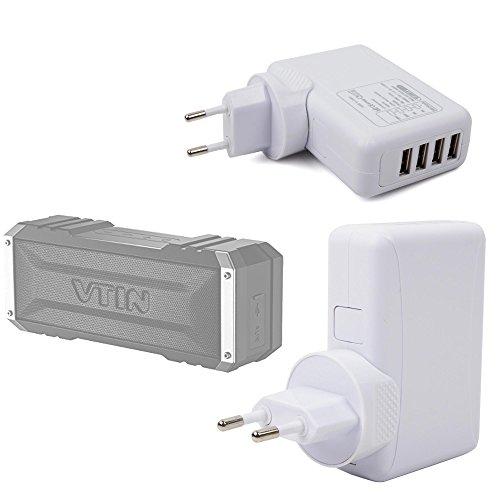 DURAGADGET Cargador De Viaje En Color Blanco Para Altavoz Portátil Vtin Royaler / Vtin Punker - Con 4 Puertos USB Y Enchufe Europeo