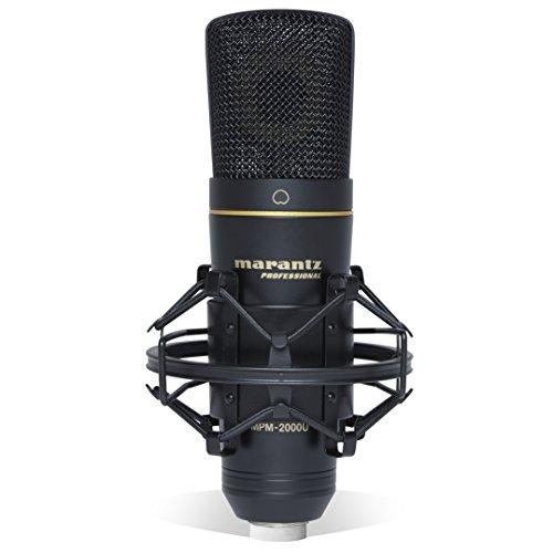 Marantz Professional MPM2000U Microfono a Condensatore USB con Diaframma Largo, Cavo USB, Filtro Antipop, Sospensione Elastica e Valigetta