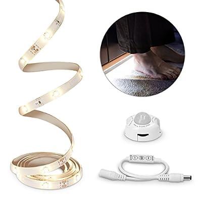 kwmobile LED Bettlicht mit Bewegungssensor - LED-Streifen 1,2m Länge - dimmbar - Helligkeitssensor - Sicherheit im Dunkeln - 36 LEDs - warmweiß