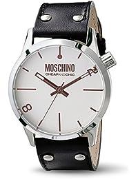 Moschino MW0102 - Reloj analógico de caballero de cuarzo con correa de piel negra - sumergible a 50 metros