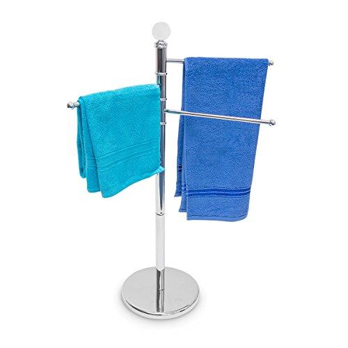 Relaxdays Handtuchständer mit 3 beweglichen Handtuchstangen für Badetücher und andere Textilien Handtuchhalter in Edelstahl-Optik mit schwenkbaren Stangen auch als kleiner Kleiderständer, silber (Edelstahl Halter Handtuch)