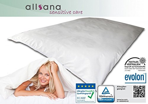 Allsana Allergiker Deckenbezug 200x220 cm Allergie Bettwäsche Anti Milben Encasing Milbenschutz für Hausstauballergiker