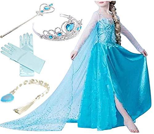 Jugendliche Für Elsa Kostüm - ZQZP TOP Mädchen Kinder Eiskönigin ELSA Prinzessin Kleid mit Umhang Karneval Party Kostüm Cosplay Verkleidung Halloween Fest