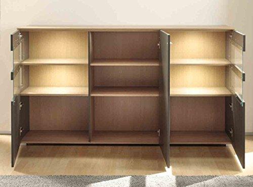 Sideboard, Kommode, Anrichte, Highboard, Flurkommode, Schubladenkommode, Softclose, Eckverglasung, Stone-Oak, grau - 2