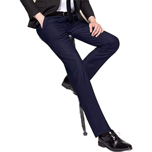 CuteRose Men's Casual Fit Business No-Iron Flat-Front Plain Front Pant Navy Blue 30 Free Flat Front Pant