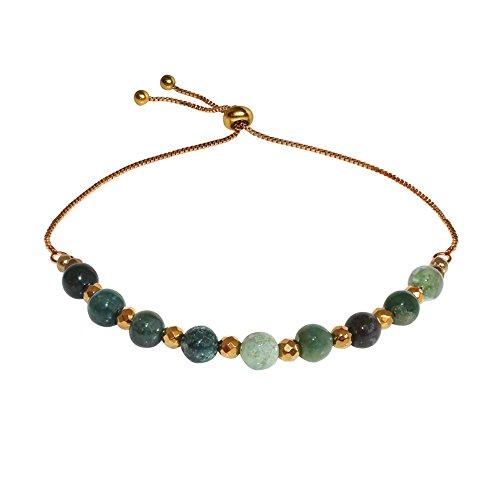 Sheenashona Jewellery Halskette Gold & Moos Achat Armband Katie Verstellbar (Moos-achat Halskette)