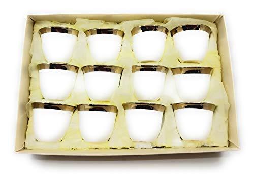 Türkische arabische Kaffeetassen Gawa 85 ml 80 cc 12 Stück Casual 3 oz 80 ml Golden Rim Gold Rim Band