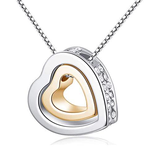 Liquidazione offerte, fittingran regalo romantico dei monili della collana del pendente della catena d'argento del cristallo del doppio del cuore doppio classico delle donne (argento-1)