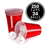 Vivaloo 250 Plastik-Becher mit 24 Bällen - Original Red Cups Set, Beer-Pong, Trinkbecher 473ml, Party Zubehör
