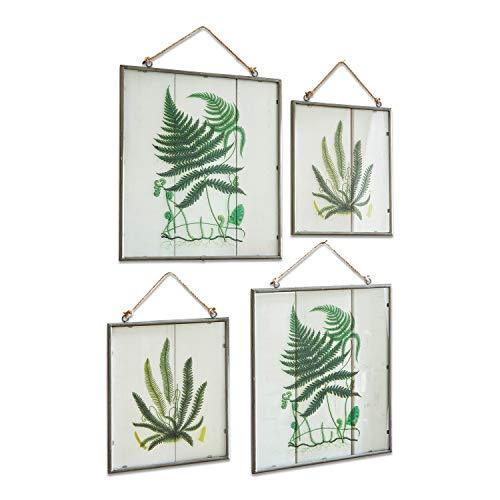 Loberon Bild 4er Set Vallauris, Glas/Eisen/Leinen, H/B ca. 42/35,5 cm, grün/Silber