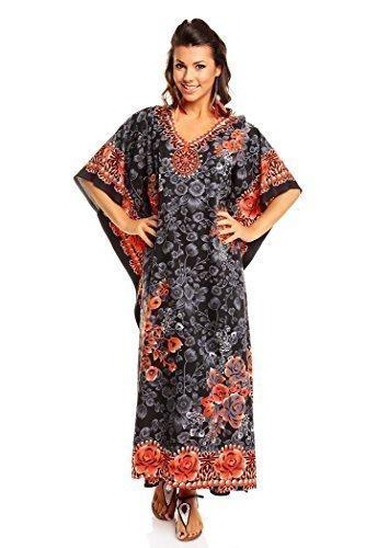Neu Damen Überdimensional Maxi Kimono Kaftan Tunika Kaftan Damen Top Freie Größe - Schwarz, 46-52 (Top Kimono)