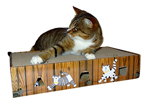 ENVIRONMENTALLY FRIENDLY CAT SCRATCHER & ACTIVITY TOY including CATNIP and TOYS 9