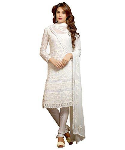 Utsav Designer Women's Karachi Work Semi Stitched Salwar Suit Dress Material (DNR_1008_White)
