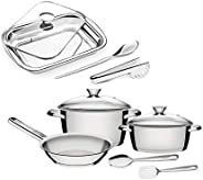 Tramontina 10 pcs Cooking and Serving Set Includes 7 Pcs Cookware Set in Stainless Steel Tri-Ply bottom with G