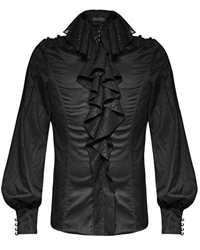 Punk Rave Mens Gotico Shirt Top nero Steampunk VTG Regency Aristocrat vampiro Black Medium