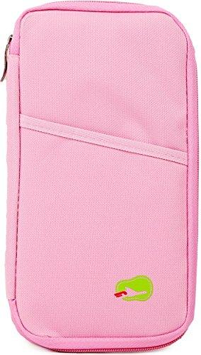 Trousse portafoglio e porta passaporto, materiale poliestere, dodici tasche più una esterna, resistente e lavabile, per portare documenti e carte, Pink (rosa) - GPCT671