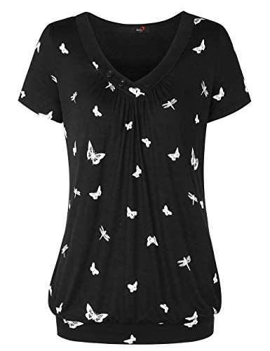 DJT Damen Basic V-Ausschnitt Kurzarm T-Shirt Falten Tops mit Knopf Schwarz Schmetterling M