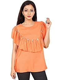 Secret Bazaar Women's Rayon Layered Solid Coin Decorated Blouson Top(Orange)