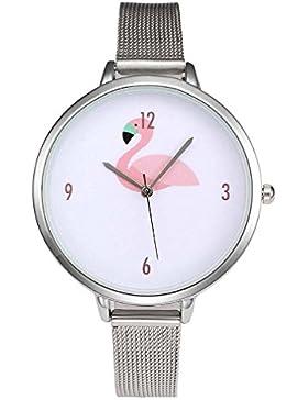 MJARTORIA Damen Armbanduhr Flamingo Mode Analog Quarz Damenuhr Edelstahl Milanese Armband Silber Farbe 24cm