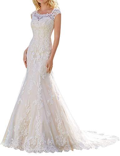 Jaeden abiti da sposa abito nuziale sirena lungo vestito da sposa donna pizzo abito da sera avorio eur42