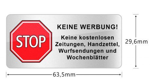 peha® Briefkasten Aufkleber \'STOP KEINE WERBUNG!\'(64*30 mm) mit 3 Jahren UV-Garantie, Wetter&Schmutz beständig (kein Papier)