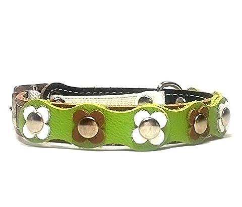 Leder Katzen-halsband mit Elastisch Sicherheitsverschluss | Blumen Flower-Power aus Braun Grün und Weiß Leder